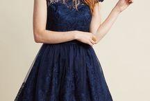 Bridesmaids' Dresses / Bridesmaids: blue/navy dresses with lace