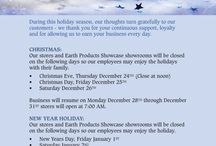 Happy Holidays / Holiday hours and message.