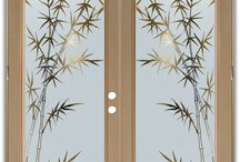 Double Entry Doors - Frosted Glass Doors / These double entry doors are hand-crafted, sandblast frosted and 3D carved.  Available as interior or entry door in 8 woods and 2 fiberglass. Slab door or prehung any size, or as glass insert only.  Our fun, easy to use online Door Designer gives you instant pricing as YOU customize your door and the glass!  When you're all finished designing, you can place your order right there online!  Doors ship worldwide from Palm Desert, CA. 3-8 weeks depending on door material and glass effect selected.