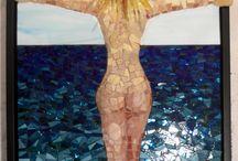 Mosaik Kunst/Mosaic Art / Mosaik på billeder, skulpturer og borde lavet af Pia Mortensen