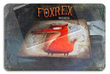 *FoxRex* progress... / Mixed media: cardboard, card old notebook, acrylic. Dimensions: 29,7x42 cm