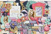 Horses scrapbooking supplies / Digital scrapbooking supplies with a horse theme