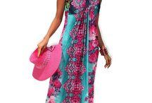 Maxi šaty se zavazováním kolem krku výrazných barv