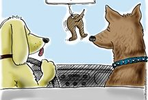 Dogs and Cartoons depicting dog humor. / Dog humor and gifts for the dog lover. Man's best friend brings much joy to our lives.  Whatever dog breed you have, you are sure to enjoy these humorous cartoons depicting our canine friends.