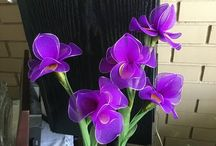 Meia seda flores