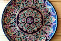 point-painted plates / Точечная роспись