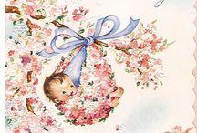 vintage baby kaart