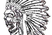 aztec_indián_ethno_T-ART.CZ / potisk, originální motiv na tričko,T-ART.CZ, aztec illustration art t-shirt