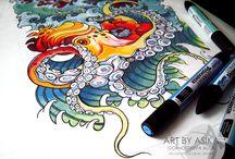Tattoo flashes. Traditional / Занимаюсь разработкой эскизов, иллюстраций.