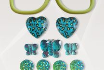 """Don't Be Jelly / Bring out your sassy side!  This kit includes: Lime green frames (5.25"""" x 1.5""""), 2 blue/green leopard hearts, 1 large blue butterfly, 2 medium blue butterflies, 4 medium green fairy dusted circles, 5 small green fairy dusted circles"""