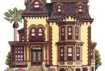 hímzés - házak