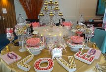 Pink and gold candy buffet / Bridal show at hyatt regency grand cypress .