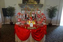 Red and Gold Candy Buffet / Red and Gold super sparkly candy buffet for a wedding