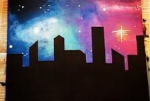 skyscraper painting