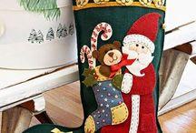 Meias de Natal em Feltro; Stocking Felt