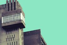 MINIMAL ARCHITECTURE URBAN PHOTOGRAPHY / Minimal photography of London buildings with aqua skies in the background.