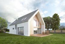 Studie moderního rodinného domu se sedlovou střechou / Tento dům vznikl s ohledem ke tvaru pozemku, kde jsme byli limitováni jeho šířkou a požadavkem investora na jednoduchý rodinný dům se sedlovou střechou.