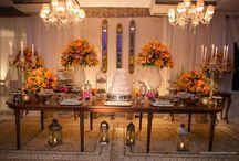 Decoração de casamento amarelo e rosa / Decoração de casamento colorida e aconchegante com flores nas cores amarelo e cor de rosa.