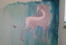 Einhorn auf watercolor Wand