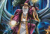 cross stitch dragons wizards