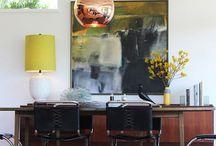 Dining Room / Design ideas - Table, light fixture, rug, art