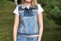 Jeans vesty / Patchwork jeans vesty jsou ušité z jednotlivých dílků džínoviny.