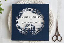 Blue laser cut wedding invitation