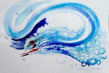 Steve PP - SplashySliders / Fun, flowing watercolour surfer paintings. Putting the vitality and motion of the ocean onto paper.