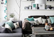 Mint grey pink theme home