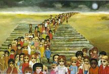"""Margaret Keane Paintings / Margaret D. H. Keane (born Peggy Doris Hawkins; September 15, 1927) is an American artist. Creator of the """"big eyed waifs"""", which feature children with large eyes. Keane is famous for drawing paintings with big eyes and mainly paints women, children, and animals in oil or mixed media."""