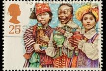 Englantilaisia joulupostimerkkejä