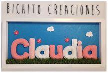 NOMBRES by MissBichito / Cuadros de nombres hechos de ganchillo con algodón para decorar la habitación de los mas pequeños