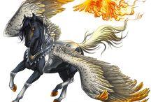 Horses unicorns pegasues