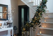 Christmas hall and stairs decoration