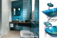 Modrá koupelna / Inspirace pro modré koupelny, vodovodní baterie a umyvadla