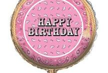 Pink Cowgirl Party Decorations / What could make an aspiring rodeo star feel more special on their birthday than celebrating with a pink bandana them or pink cowgirl theme party. Mix Pretty pink and white colors with horse favors through the party! We have found some great Pink Cowgirl Ideas to share, and added some of our best selling products as well. http://www.ezpartyzone.com/pd-pink-bandana-happy-birthday-18-inch-foil-balloon.cfm