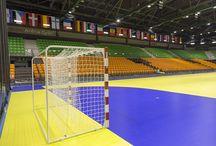 EHF Euro 2014 / Wyposażenie hal Euro 2014 Węgry - Chorwacja w Profesjonalne bramki do piłki ręcznej Sport Transfer