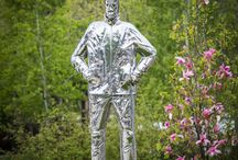 Castlegar Sculpturewalk 2014 / Sculptures featured in Castlegar Sculpturewalk's 2014. Castlegar Sculpturewalk is an annual exhibition of outdoor public sculpture, located in Castlegar, British Columbia, The Sculpture Capital of Canada™. The public can vote for their favourite piece - the winner of the People's Choice award is purchased by the city for their permanent collection.