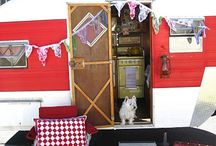 T R A I L E R S * G L A M P I N G / I love my littler 1957 Jewel trailer! There is nothing like GLAMPING! Sleeping in one of these little trailers is heaven! I have a feather bed too! xox / by The Beehive Cottage ~ Maryjane