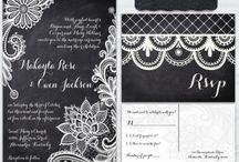 Chalkboard and lace wedding / Chalkboard and lace wedding invitation theme black and white wedding