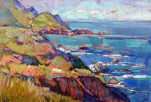 """Art {California Impressionist Landscape} / The California Impressionist artists depicted the California landscape—the foothills, mountains, seashores, and deserts of the interior and coastal regions. California Impressionism reached its peak of popularity in the years before the Great Depression. They generally painted in a bright, chromatic palette with """"loose"""" painterly brush work that showed some influence from French Impressionism and Post-Impressionism."""