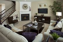 Corner fireplace decor ideas / I have a new corner fireplace. Images to inspire furniture layout.