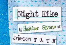 Night Hike Fabric by Heather Givans / Heather's newest collection designed for Windham Fabrics. A nod to her love of summer camp, the north woods, moths, the night sky, pine trees, and the Aurora borealis.