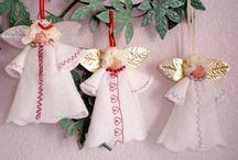 Uniquesewingboutique's Christmas Ornaments / Handmade Holiday Ornaments, Angels, Santa's, Snowmen