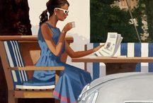 Breakfast with news / Desayuno con noticias (ilustración de Jack Vettriano) / maalaus kädestä, joka kirjoittaa sulkakynällä tekstiä