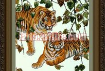 Lions, leopards, tigers bead embroidery diy kits