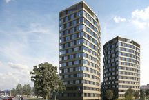 High-rises / Hochhäuser / As a comprehensive provider and project partner for window façade systems, high-density construction for residential purposes is a major line of business for Krapf AG.