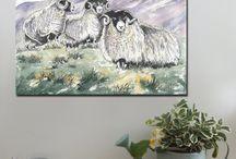 Farm Animals / Canvas art prints, A1 and A2  www.splashyartystory.com