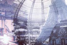 Wallpaper Postcards / Gres laminato sottile carta da parati