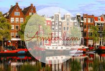 I <3 Amsterdam / I love this city - with all the water canals and the small buildings. I'd love to go on a boat ride through the city, walk down the colorful streets or rent a bike and visit the museums. It is also known for it's diverse culture, night life, tulips and windmills.